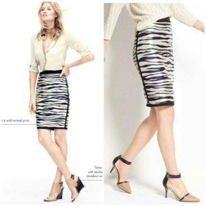 Ann Taylor Zebra Print Pencil Skirt 10P Petite
